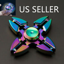 4 Crab Legs Aluminum Tri-Spinner Hand Spinner Fidget  Desk Focus Toy EDC Rainbow