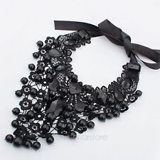 New Statement Jewelry Vintage Bead Black Lace Collar Choker Necklace Costume Bib