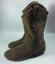 Women's Zigi Girl Cowboy Western Brown Suede Leather Boots-Stacked Heel-9 M