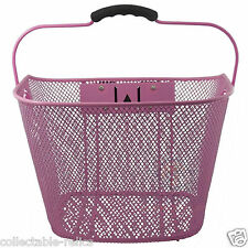Wire Mesh Bicycle Basket Front Pink Carrier Bike Rack Large Fittings Handle New