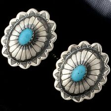 Traditional Concho Cuff Links Hand Crafted Genuine Turquoise Navajo made