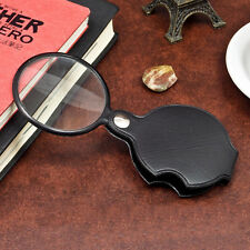 Outdoor Hiking Pu Leather Case Portable 5X Times Magnifying Glass Magnifier 1Pc
