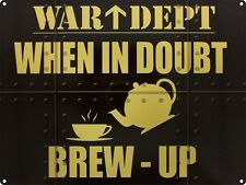 War Dept Brew Up Tea Coffee Cafe Diner Kitchen Old Garage Large Metal/Tin Sign