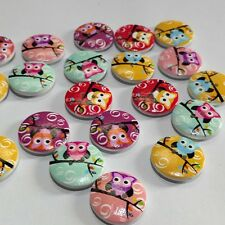 50 Pcs ACGM Mixed 2 Holes Owl Round Pattern Wood Buttons Scrapbooking 20mm