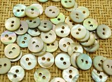 100 Mother of Pearl Real Shell Round 2-hole Dolls Buttons(9mm)