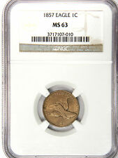 1857 FLYING EAGLE CENT - NICE EVEN TAN - NGC MS63! - PRICED FOR FAST SALE!