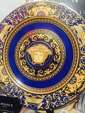 "VERSACE MEDUSA  BLUE CHARGER PLATE GOLD 12"" ROSENTHAL WALL NEW 2015 SALE"
