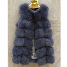 Genuine Real Blue Whole Fox Fur Vest Women's Vintage Warm Gilet Long Jacket Coat