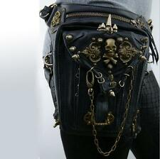 Men Women Skull Rock Leather&Vintage Gothic Punk Steampunk Shoulder Waist Bag