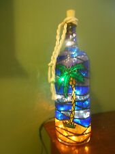 Palm Tree Inspiered Hand Painted Lighted Wine Bottle StainedGlass look
