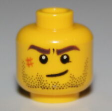 LeGo Yellow Minifig Head w/ Thick Brows Scars Stubble