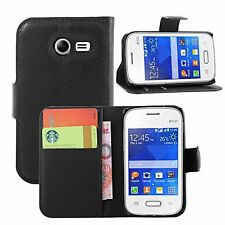 PU Leather Premium Black Wallet Book Case Cover Samsung Galaxy Pocket 2 SM-G110H