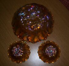 Vintage Iridescent Gold Carnival Glass 1211 3 piece Console Set NIB