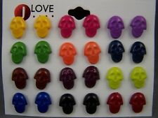 Set pack of 12 pair all entirely plastic skull stud post earrings studs no metal