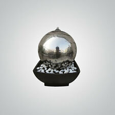 Auckland Stainless Steel Sphere Table Top Indoor Water Feature with LEDs FREE DE