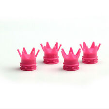 4x Pink kings Crown Tyre Tire Wheel Valve Stems Air Dust Cover Cap For Benz Car
