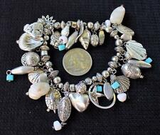 Silvertone Dangle Blue Beads Mother Pearls SEASHELL Charms Elastic Bracelet
