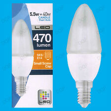 6x 5.5W LED Ultra Low Energy, Instant On, Pearl Candle Light Bulb, SES, E14 Lamp