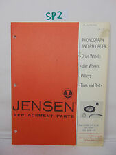 VINTAGE BROCHURE PAMPHLET BOOK 1967 CATALOG 966 JENSEN REPLACEMENT PARTS PHONO