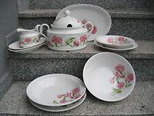 SERVICE à TABLE 8 PERSONNES 32 Pièces Porcelaine BAVARIA SELTMANN FLEUR ROSE