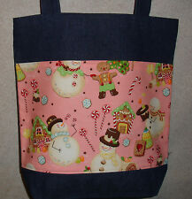 NEW Handmade Large Christmas Holiday Snowman Candy Treats Pink Bkgd Tote Bag