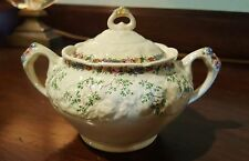 Crown Ducal Made in England Florentine Ferncroft Sugar Bowl & Lid 3 3/4""