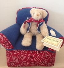 Hen in the Holly Teddy Bear and Matching Chair Retired Vintage New With Tag