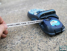 Black on White Plastic label 12mm x 4m tape Dymo LetraTag label maker 10 PACK