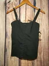 Guess Los Angeles  Black Tank Top Corset Size Medium Shirt Clasp Front Cute