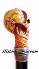 Handmade Antique Alexander McQueen Skull Cane Walking Stick Skull Handle