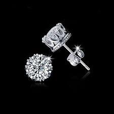 Fashion Lovely Lady 925 Sterling Silver Rhinestone Crown Ear Stud Earrings Gift