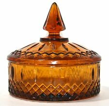 Vintage Amber Glass Unique Candy Dish With Lid