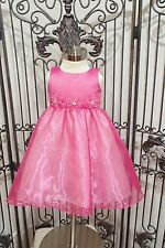 G1286 BLOSSOM BL202 SZ 3T PINK FUSCHIA PEARL RHINESTONE  FLOWER GIRL DRESS