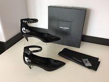 SAINT LAURENT Paris New Black Patent Leather Shoes Size 37.5 Uk 4.5 Rrp £520 Box