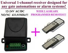 Universal receiver 1-ch 433,92MHz + 2 remotes for Garage gates FAAC, CAME, V2