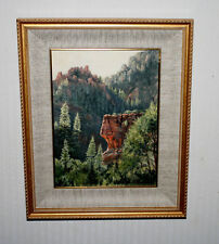 "Signed PETER VAN DUSEN original Oil Painting, Frame, ""RED ROCK"" COA, UACC"