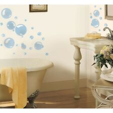 31 New Blue BUBBLES WALL DECALS Kids Bathroom Stickers Bubble Bath Decorations