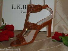"L.K. BENNETT, LONDON, CAMEL CINDY ""T"" STRAP SANDAL SZ 42  **BEAUTIFUL LEATHER**"