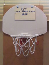 MINATURE BASKETBALL HOOP FOR DOOR OR WALL PUT ON YOUR OWN TEAM LOGO WITH BALL