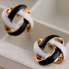 New Women's Hollow Black White Celtic Knot Party Earrings Stud Jewellery Enamel