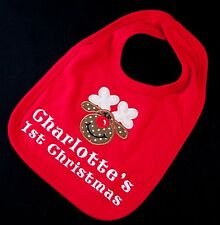 PERSONALISED MY 1ST CHRISTMAS NEW BABY BIB GIFT BOY GIRL XMAS FIRST red rudolf