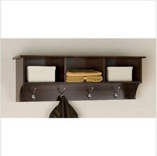 Entryway Shelf Organizer Rack Wall Mounted Hanging Coat Storage Cubby Brown NEW