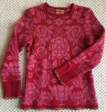 OLEANA Espeland Women's Wool Sweater Pullover Pink Floral NORWAY XS S