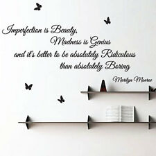 Marilyn Monroe Imperfection is Beauty Art Wall Sticker Quotes, Wall Decals 24