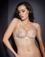 Agent Provocateur GLORIA BRA in NUDE SATIN & EMBROIDERED TULLE - Size 34C - BNWT