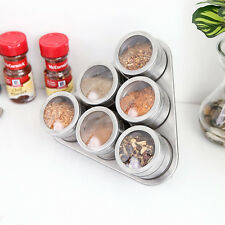 6pc/Set Stainless Steel Magnetic Spice Storage Jar Tins Container W/ Rack Stand
