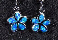 Sterling 925 Silver SF Earrings Blue Lab Fire Opal SMALL PLUMERIA FLOWER 1 1/8""