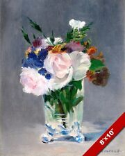 FLOWERS IN A CRYSTAL VASE PAINTING ART REAL CANVAS GICLEE PRINT EDOUARD MANET