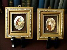 A Pair Of Miniature Wall Plaques With Porcelain Inserts  Lovers By Watteau + 1
