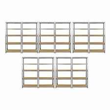 10 x Galvanised Shelving MDF Shelves Heavy Duty Metal Racking Storage 5 Tier Bay